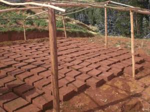 Erste Ziegel für die Schule in Huamachuco/Peru wurden von Jugendlichen aus Freiburg schon hergestellt und trocknen nun.